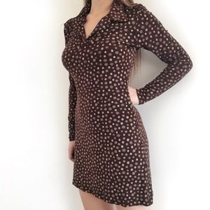 Vintage Brown Flower Collared Mini Dress Small